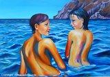 Vrouwen schilderij: Lesbos bay